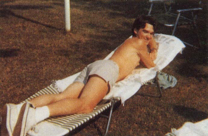 Morrissey sunbathing in America during the summer of 1976.